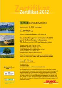 PC-Wölfl - GOGREEN-Zertifikat 2012